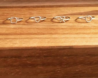 Geometric square round triangle and cross sterling silver knuckle rings