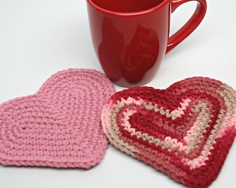 Heart Shaped Coasters- Coffee Coasters- Mug Rugs- Cup Mats- Candle mats- Holiday decorating- Valentine Decor
