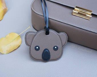 Leathercraft handmade epsom leather koala bag accessory keychain key ring Australia