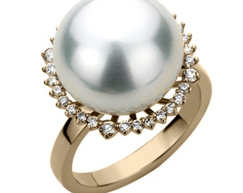 14K Gold 0.35 cttw Diamond Halo High Luster South Sea Cultured Pearl Ring 16.5mm(PSSPR11037YG)
