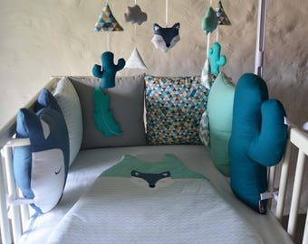 Bumper teepee, cactus, Fox and WolF Ki PiK - Mint, blue and white feather