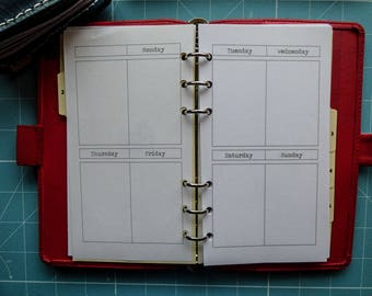 Vertical Undated Week on 2 Pages Planner Insert, Personal Size, Filofax, Kikki K, Paperchase (RWVB1)