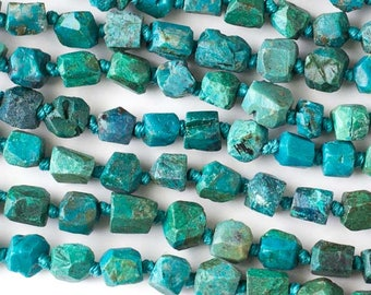 Chrysocolla Rough Nugget / Natural Tumbled Stone Beads - Grade AA - Gemstone - Size: 5x7mm to 7x8mm - Center Drill - 06 Beads per Order
