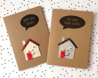 Happy New Home Card - Moving House Card - Felt Card w/ Felt Cute Smiling House Detail