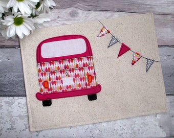 Pink Place Mats, Camper Van Place Mat, Table Decor, Birthday Gift, Gift For Her, VW Bus Decor, Housewarming Gift, Summer Decor, Plate Mat