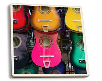 Acoustic Guitars on Wall - LP Photography (Set of 4 Ceramic Coasters)