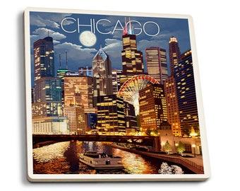 Chicago, IL - Skyline at Night - LP Artwork (Set of 4 Ceramic Coasters)