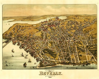 Beverly, Massachusetts - Panoramic Map (Art Print - Multiple Sizes Available)