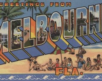 Melbourne, Florida - Large Letter Scenes (Art Print - Multiple Sizes Available)
