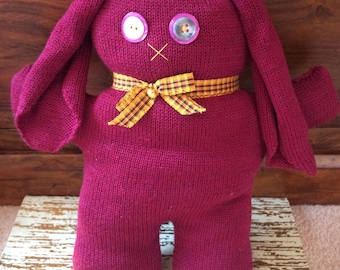 Hand Knitted Purple Bunny