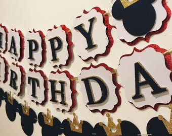 Prince mickey happy birthday banner and garland