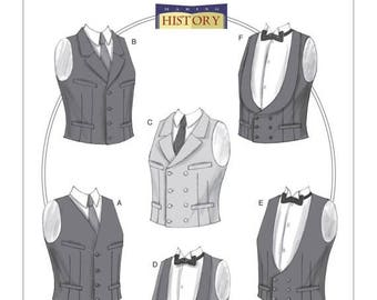 B6339 Butterick, Making History, Men's Historical pattern, Single or Double-Breasted Vests, Edwardian, Victorian, Formal Vests