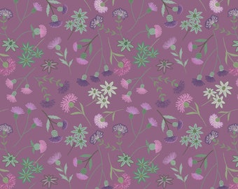 A239-2 Celtic Blessings Thistle Floral on Purple Lewis & Irene Patchwork Quilting Fabric