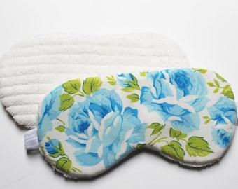 Floral Sleep Mask, Retro Vintage Sheet, Eye Mask, Bed Night Mask, Beauty Sleep, Blue Rose, Slumber Party
