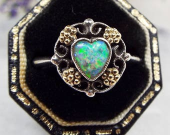 Vintage Art Deco Sterling Silver & 9ct Gold Mixed Metal Opal Heart Ring / Size N