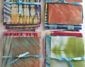 Shibori Fabric Sampler, Hand Dyed Scraps, Gift For Quilter