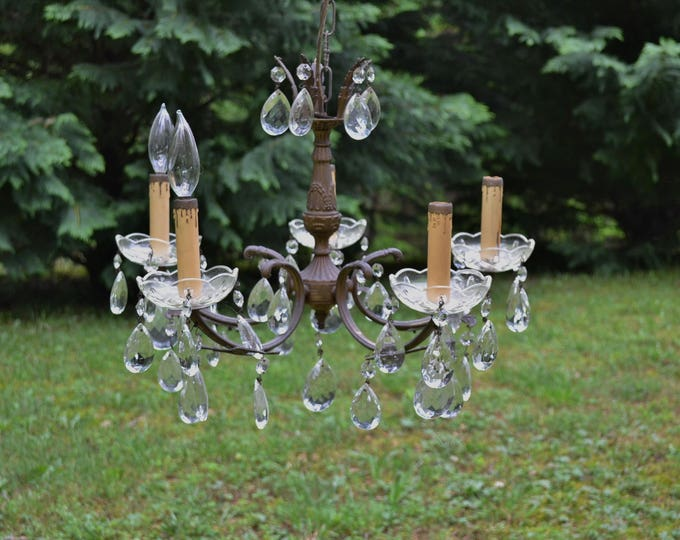Vintage Brass Chandelier Crystal Glass Prisms 5 Arm Ornate Details French Country Decor Period Lighting PanchosPorch