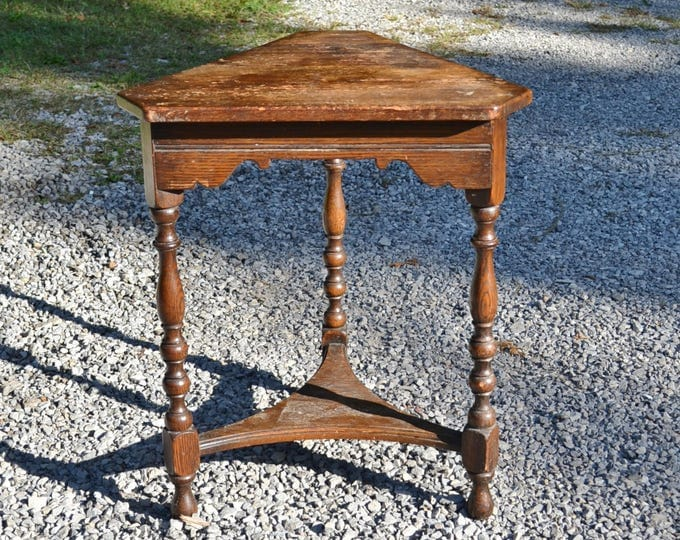 Vintage Wood Triangle Table Corner Table Rustic Cottage Furniture Panchosporch