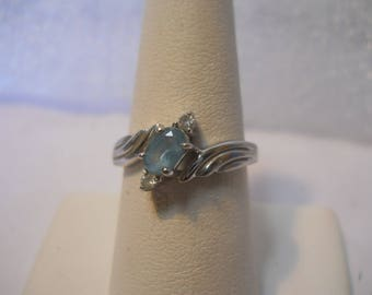 925 Crafted Solid Sterling Silver Blue Cubic Zirconia Ring Sz 7.5  #FJW526