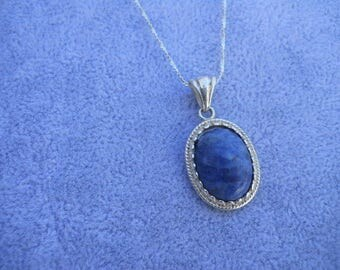 925 Southwestern Genuine Denim Blue Lapis Pendant Necklace Sterling Silver