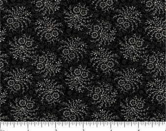 Paula Barnes fabric 1800's Civil War Reproduction Peppery 1882 black beige floral quilting sewing 100% Cotton fabric by the yard Freespirit