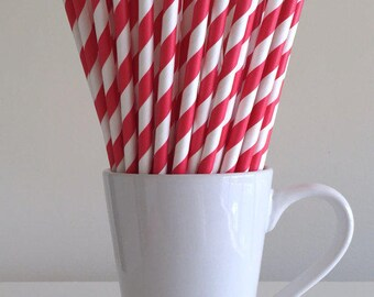 Red & White Striped Paper Straws (1 dozen)