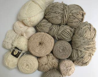 Deluxe Yarn Sampler // Curated Yarn Bundle // Weaving Crafting School Home Projects Party Decor // White Multi Pack // Stash Sale