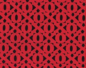LOVE is All Around - Hugs and Kisses in Black / Red - Cotton Quilt Fabric - Maria Kalinowski for Benartex Fabrics - 4908-10 (W3862)