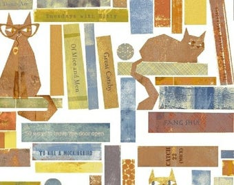 5/8 Yard REMNANT - SMARTY CATS - Smarty Cats in White - Cute Kitty Cotton Quilt Fabric - Maria Carluccio - Windham Fabrics - 42836-1 (W3832)