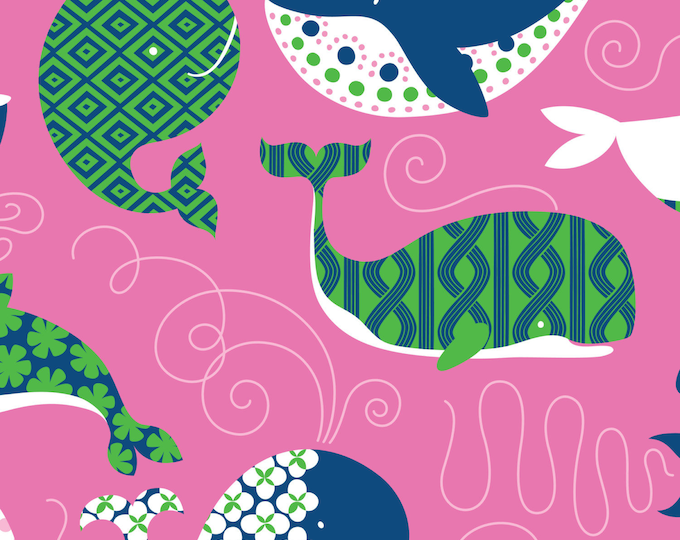 """13"""" REMNANT True Blue - Whales in Dark Pink - Cotton Quilt Fabric - Kid's Nautical Fabric designed by Ana Davis for Blend Fabrics (W1844)"""