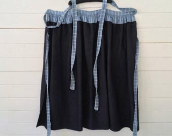 Dutch Indigo Blue Apron Vintage Wrap-around Skirt