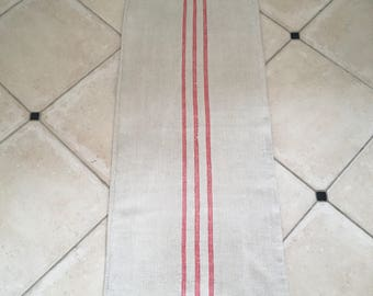 NS1550 Triple Pink Stripe Natural Limestone Vintage Linen Grainsack