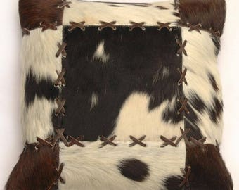 Natural Cowhide Luxurious Patchwork Hairon Cushion/pillow Cover (15''x 15'')a193