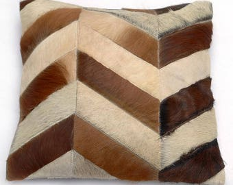 Natural Cowhide Luxurious Patchwork Hairon Cushion/pillow Cover (15''x 15'')a239