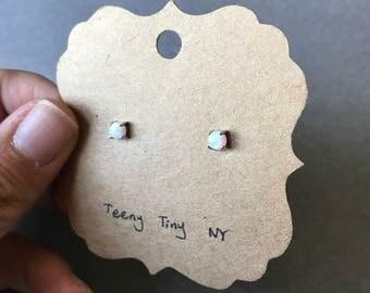 White Opal Tiny Mini Stud Earrings - Sterling Silver