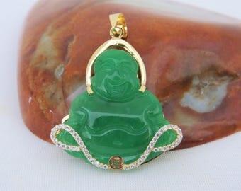 Buddha necklace jade etsy vintage 18k solid yellow gold laughing buddha green jadeite jade pendant happy buddha aloadofball Images