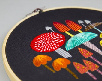 Toadstool and mushroom printed design to stitch yourself at home, embroidery hoop art