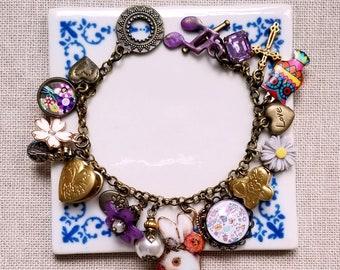 Bunny charm Locket charm bracelet Purple charms Cha cha bracelet Flowers bracelet Charms bracelet Owl and pearl charms bracelet
