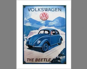 Vintage Volkswagen poster on foam board