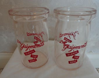 2 Collectible Dr. Gaymont's Cottage Cheese/Sour Cream Dairy Jars (#1528)