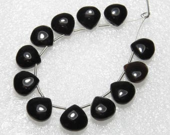 Black Onyx - 6 Matching Pairs - Smooth - Heart Shape - size 10x10 mm