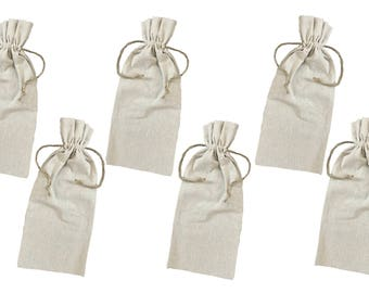 Natural Linen Wine Bags With Drawstrings - Wedding Supply- Event Supplies- Hostess Gift- Wine Bag- Gift Bag- Reusable Wine Bag