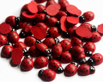 50 Wooden Red Ladybugs - 13mm x 9mm - Ladybirds - Pack of 50 - Insect Crafts - Red Lady Bug - Wooden Bugs - Tiny Ladybird - Red Colour OC146