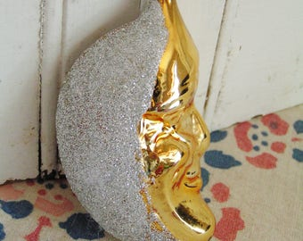 Vintage Figural Mercury Blown Glass Man in the Moon Christmas Ornament West Germany