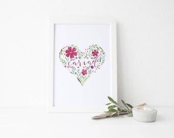 Cariad Floral Heart Print / A5, A4 or A3 / Watercolour Print