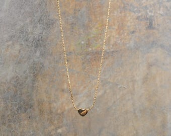 Pretty heart 14 k gold plated necklace