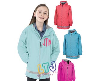 Youth Monogrammed Rain Jacket ~ Charles River New Englander Youth Rain Jacket ~ Personalized Youth Rain Jacket