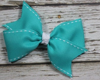 NEW Turquoise with White Stitching Basic Boutique Hair Bow on Lined Alligator Clip