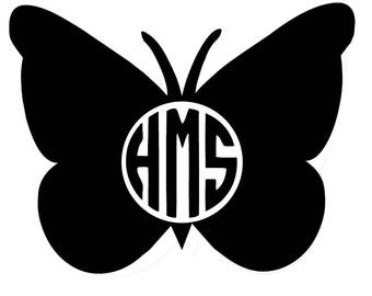 Butterfly Decal - Monogram Vinyl Decal - Phone Decal - Computer Decal - Wall Art - Home Decor - Personalized Decal
