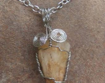 Quartz wire wrapped chain necklace